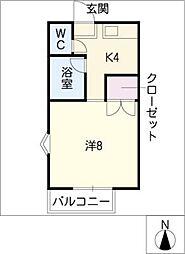 シングル北島A棟[2階]の間取り