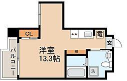 阪神本線 魚崎駅 徒歩3分の賃貸マンション 6階ワンルームの間取り