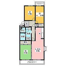 徳重団地5号棟[3階]の間取り
