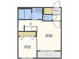 北海道札幌市豊平区美園八条1丁目の賃貸アパートの間取り