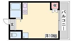 神鉄三田線 五社駅 徒歩20分の賃貸アパート 2階ワンルームの間取り