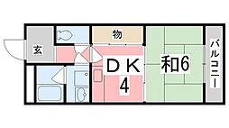 兵庫県姫路市広畑区蒲田5丁目の賃貸マンションの間取り