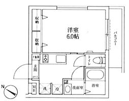 JR山手線 新宿駅 徒歩7分の賃貸マンション 1階1Kの間取り