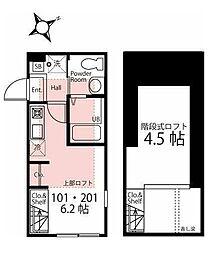 ハーミットクラブハウス横浜南太田III 1階ワンルームの間取り