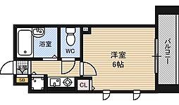 プロシード新大阪CityLife 2階1Kの間取り