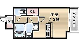 JR阪和線 長居駅 徒歩2分の賃貸マンション 2階1Kの間取り