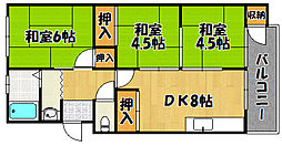 高木マンション 3階3DKの間取り