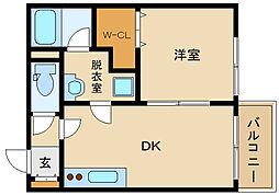メゾンドリーム藤井寺 1階1DKの間取り