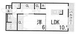 兵庫県神戸市中央区宮本通5丁目の賃貸アパートの間取り