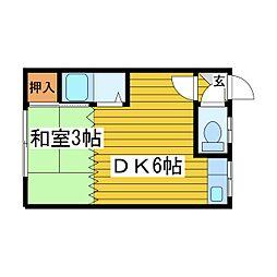 北海道札幌市東区北二十二条東9丁目の賃貸アパートの間取り