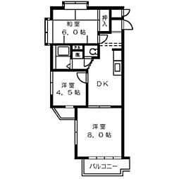 ヒヨシハイツ[305号室]の間取り