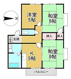 福岡県久留米市荒木町荒木の賃貸アパートの間取り