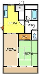 愛知県豊明市新栄町7丁目の賃貸アパートの間取り