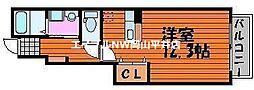 岡山電気軌道東山本線 東山・おかでんミュージアム駅駅 徒歩23分の賃貸アパート 1階1Kの間取り