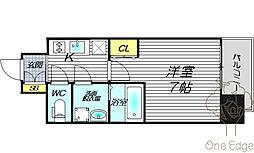 レジュールアッシュOSAKA福島 10階1Kの間取り