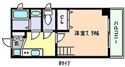 JR東海道・山陽本線 灘駅 徒歩1分の賃貸マンション 6階1Kの間取り