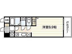 AXiS大塚西 4階ワンルームの間取り