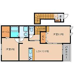 奈良県香芝市尼寺の賃貸アパートの間取り