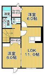 メゾン コンソラトゥール2B 2階2LDKの間取り