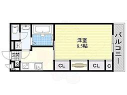 JR東海道・山陽本線 茨木駅 徒歩12分の賃貸マンション 2階1Kの間取り