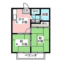 サンライフS 1階2DKの間取り