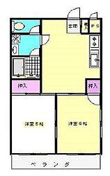 JR南武線 西府駅 徒歩7分の賃貸マンション 3階2DKの間取り
