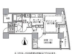 都営大江戸線 汐留駅 徒歩4分の賃貸マンション 12階1DKの間取り