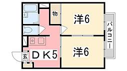 兵庫県姫路市御立西6丁目の賃貸アパートの間取り