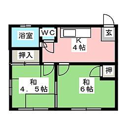 米常荘[2階]の間取り