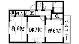 兵庫県宝塚市安倉西4丁目の賃貸アパートの間取り