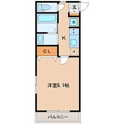 コモンリード華孝 4階1Kの間取り