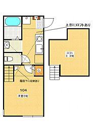 多摩都市モノレール 中央大学・明星大学駅 徒歩4分の賃貸アパート 1階1Kの間取り