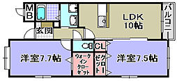 エトワール観音寺[308号室]の間取り