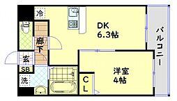 JR大阪環状線 大正駅 徒歩10分の賃貸マンション 5階1DKの間取り