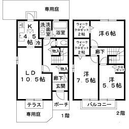 [テラスハウス] 兵庫県姫路市飾磨区今在家北2丁目 の賃貸【兵庫県 / 姫路市】の間取り