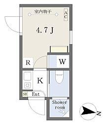 西武新宿線 下落合駅 徒歩2分の賃貸マンション 1階1Kの間取り