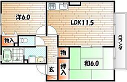 リベェール山崎[1階]の間取り