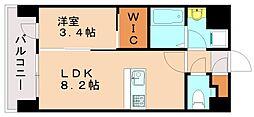 ネストピア東比恵駅前II 3階1LDKの間取り
