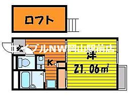 岡山県岡山市東区中尾の賃貸アパートの間取り