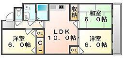 香川県高松市高松町の賃貸アパートの間取り
