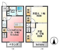 [テラスハウス] 栃木県宇都宮市中里町 の賃貸【/】の間取り