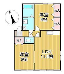福岡県久留米市山川町の賃貸アパートの間取り