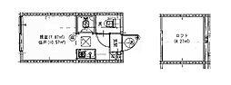 ハーモニーテラス池袋本町II 2階ワンルームの間取り