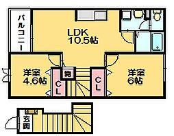 ガーデンヒルズ  A201[2階]の間取り