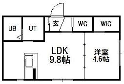 北海道札幌市豊平区中の島二条2丁目の賃貸マンションの間取り