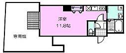 名古屋市営鶴舞線 浅間町駅 徒歩8分の賃貸マンション 1階ワンルームの間取り