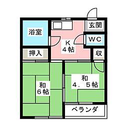 コーポ繁[1階]の間取り