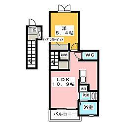 愛知県名古屋市天白区植田西2の賃貸アパートの間取り