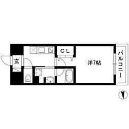joule亀島 4階1Kの間取り