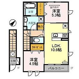D-room岸和田市額原町[102号室]の間取り